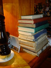 Putting the restaurant bill in a vintage book