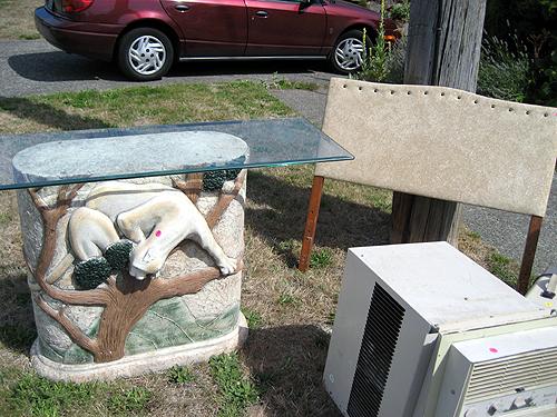 Odd yard sale detritus