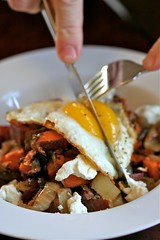 Two Potato Hash with Bacon, Goat Cheese, and a fried egg 2