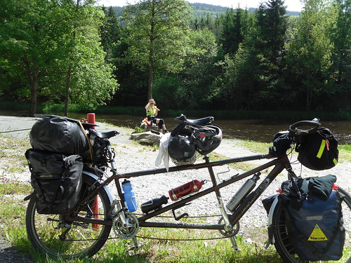 janyis and tandem at the river nr ceske krumlov, Czech Republic