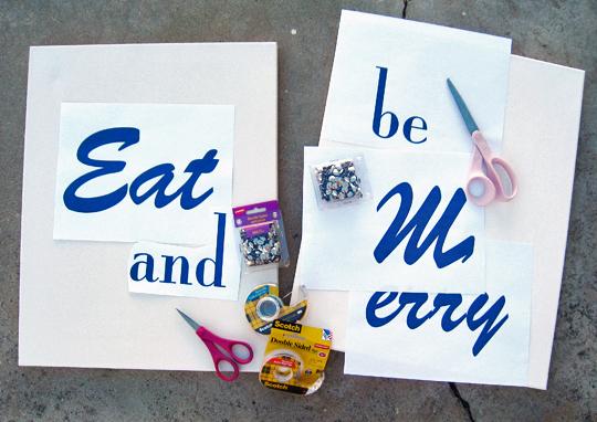 DIY word art materials needed