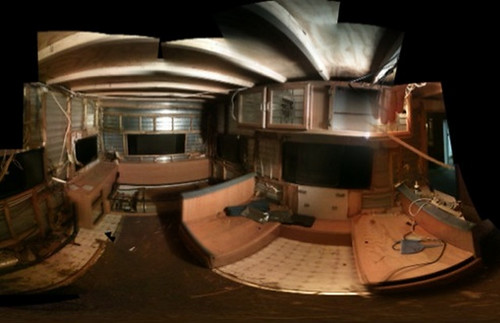 another view of the stripped-down interior of the darkroom trailer.