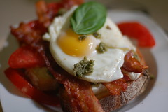 Caprese open faced breakfast panini with bacon and fried egg