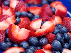 strawberries and blueberries