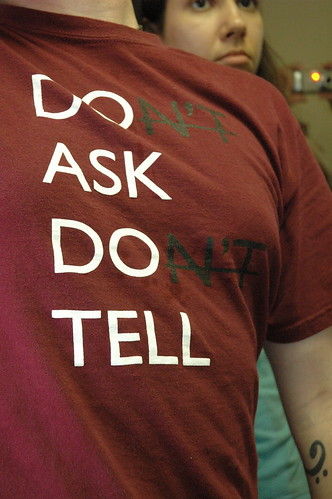 A t-shirt sends a silent message as protesters deliver petitions demanding that Rep. Ike Skelton apologize from comments characterized as offensive to gays.