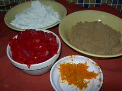 chopped cherries, grated orange rind, weighed flour & sugar