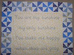 You are my sunshine quilt-top section of words