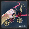 LMREST orecchini rosso stella oro fiocco neva snowflake red golden earrings 1129