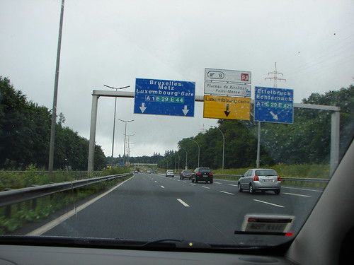 Luxembourg highway from taxi