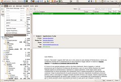 menu opzioni thunderbird su gnu/linux