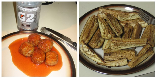 Meatballs & eggplant