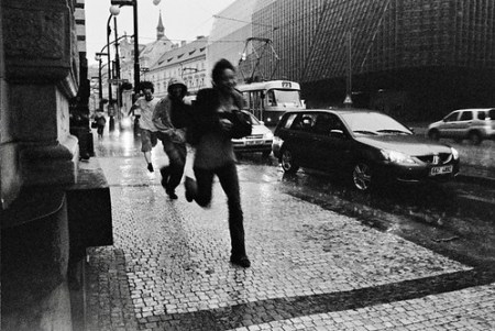 Running away from the rain - Prague