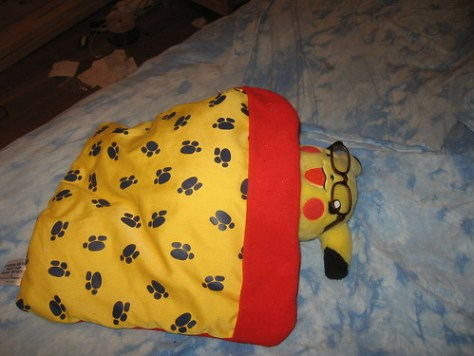 Pikachu, home and tired out