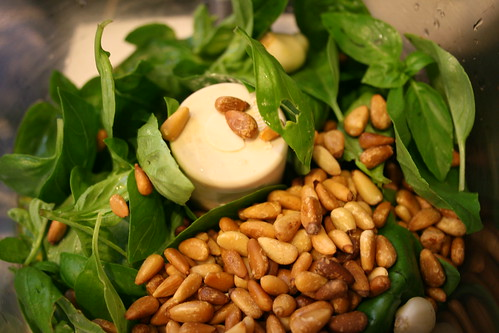 basil, olive oil, garlic, and toasted pine nuts