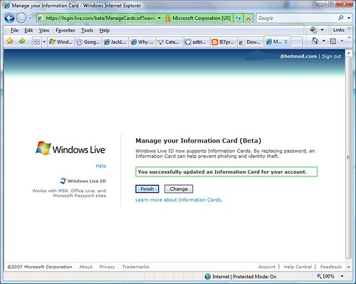 Information Card on Windows Live