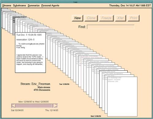 Lifestream as a desktop metaphor (precursor to Leopard's Time machine?)