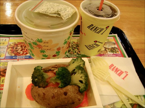 coca-cola, salad, baked potato with broccoli