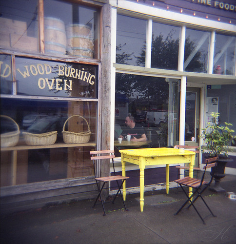 Wood Burning Oven/Yellow Table