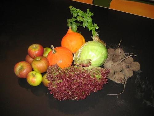 Amelishof organic CSA vegetables week 43, 2010