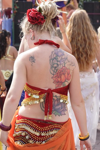 Back Flower Tattoo girl Lower tattoo is