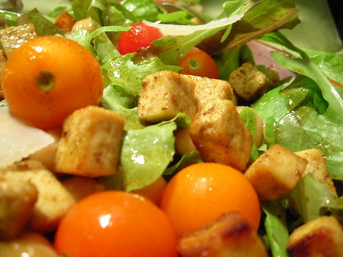 Roasted Tofu, Tomato, and Chick Pea Salad with Cumin Honey Dressing