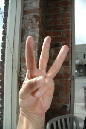 Three Fingers, balancing Society, Environment, Economy.  Sustainability Salute - Peace Plus One - 21st Century Symbol of Peace, Harmony & Sustainability