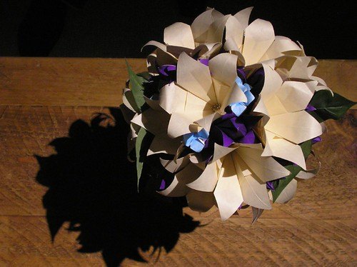 Origami the renaissance woman i did a combination of purple tulips baby blue 4 petal flowers and cream colored 6 petal lilies my bouquet is shown above i also made bouquets for the mightylinksfo