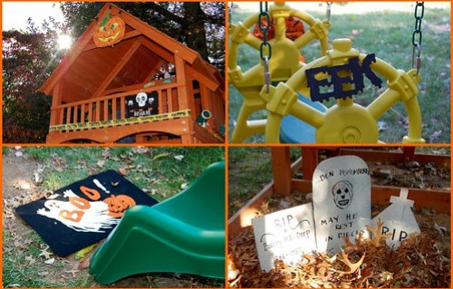 Turning the playset into a haunted house