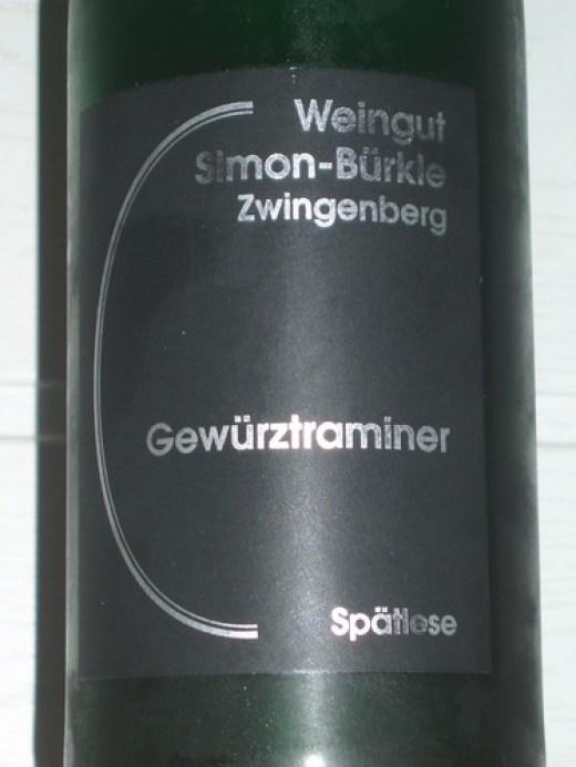 2008 Alsbacher Schöntal Gewürztraminer Spätlese, Weingut Simon-Bürkle Zwingenberg - Etikett
