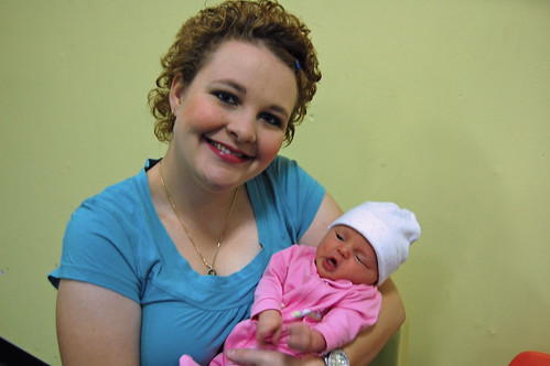Don't I look lovely with a brand new baby in my arms???