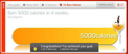 Nike+ Goal: Burn 5000 calories in 4 weeks.