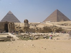 the sphinx and two pyramids