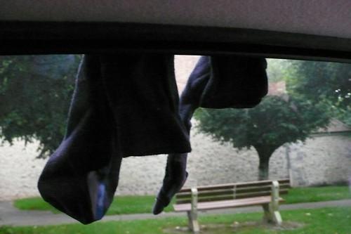 Drying Ian's sock