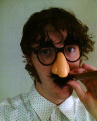 MattHurst wearing a Groucho Marx mask