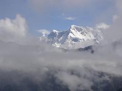 Himalaya in clouds, Chaukhamba mountain massif...