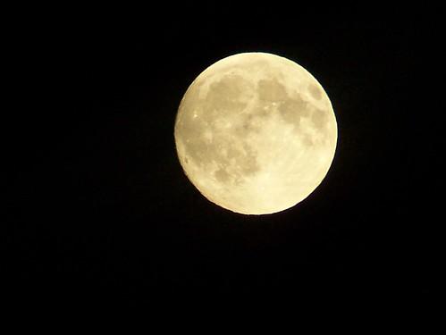 full moon at dusk