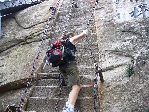 Francie climbing Huashan