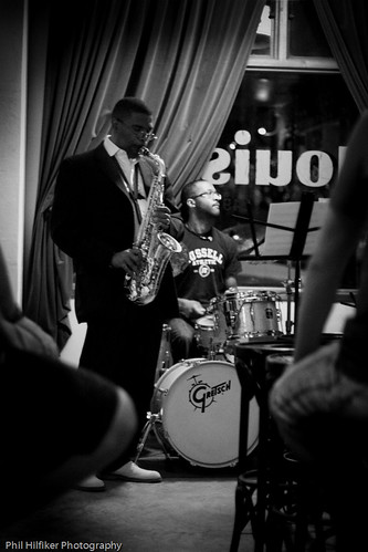 Saxophonist Antonio Hart and drummer Quincy Davis during a performance with Jonathan Voltzoks group at Louis 649 in Manhattan.