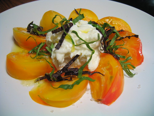 heirloom tomato & burrata salad with purple & italian basil