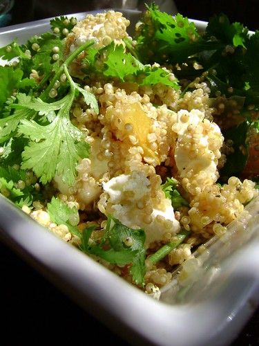 Quinoa with preserved lemon goats cheese and coriander salad