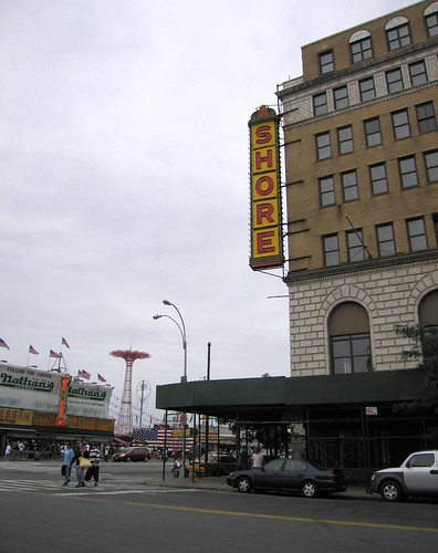 Across the Street from the Shore Theater: Nathan's, the Parachute Jump.  Photo © Betty Blade via flickr