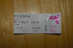 ICA ticket - Paris is Burning ticket