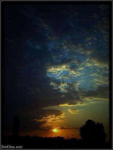 Red sun, blue sky