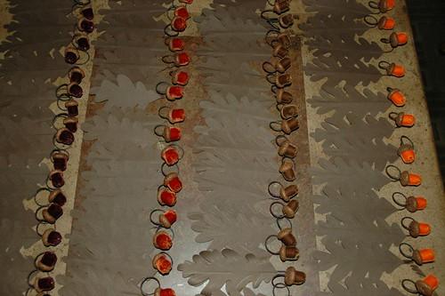 Velvet acorns detail