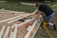 Aaron, working on the roof trusses