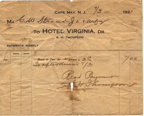 Grandparents 1921 honeymoon hotel receipt