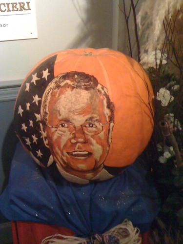 mayor of R.I. on a pumpkin