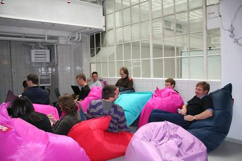 Cozy beanbags, interesting presentations
