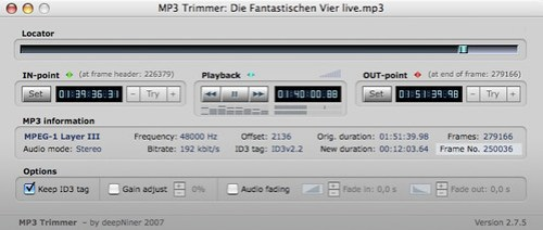 MP3 Trimmer Hauptfenster