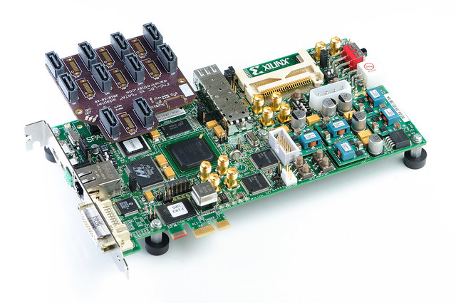 FMC-LPC to SATA adapter board - installed on Xilinx SP605 board